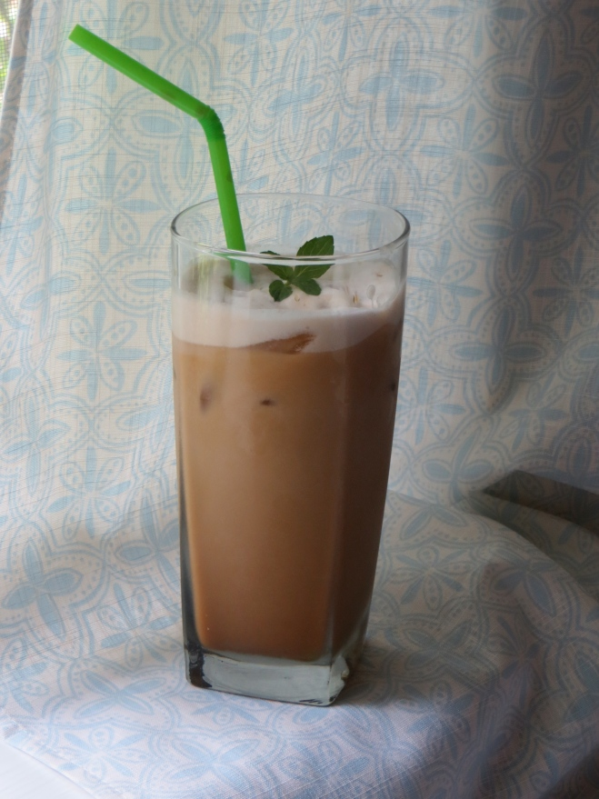 Ice + strong coffee + vegan creamer + sugar + a few drops of peppermint extract = summer afternoon perfection.